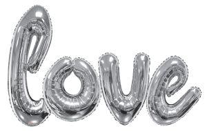 Script Phrase Love Silver Jumbo (Helium Quality)