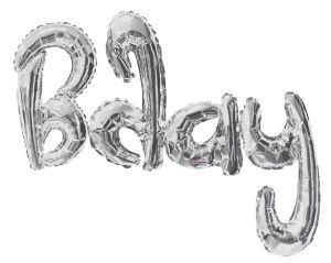 Script Phrase Bday Silver Jumbo (Helium Quality)