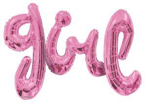 Script Phrase Girl Pink Jumbo (Helium Quality)