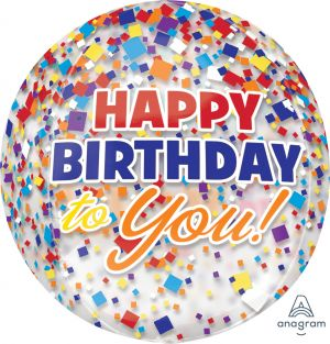 Orbz Clear Happy Birthday Clear Confetti