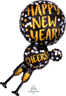 SuperShape Happy New Year Champagne Glasses