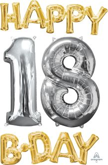 Phrase Kit Happy Bday 18 Gold and Silver