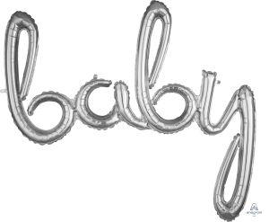 Script Phrase Baby Silver