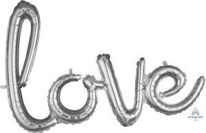 Script Phrase Love Silver