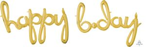 Script Phrase Happy Bday Gold