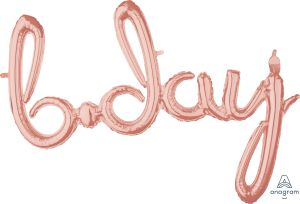 Script Phrase Bday Rose Gold
