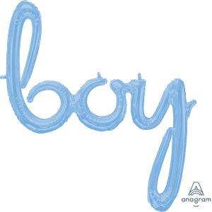 Script Phrase Boy Pastel Blue