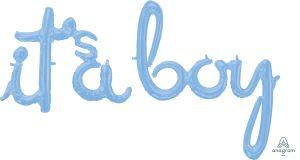 Script Phrase It's A Boy Pastel Blue