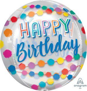 Orbz Clear Happy Birthday Rainbow Puffs
