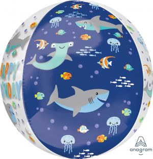 Orbz Clear Happy Birthday Sharks