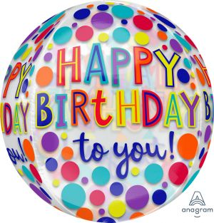 Orbz Clear Happy Birthday Jewel Tones