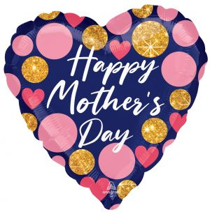 Jumbo Happy Mothers Day Navy and Glitter Dots