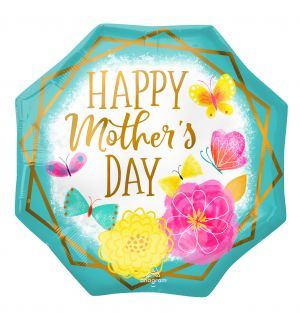 SuperShape Happy Mothers Day Gold Trim Octagon