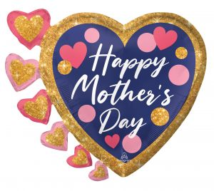 SuperShape Happy Mothers Day Navy, Pink and Glitter Dots