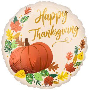 Standard Satin Happy Thanksgiving Fall Pumpkin
