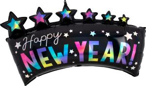SuperShape Holographic Iridscent Happy New Year Star Banner